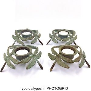 Dragonfly antiqued brass votive candle holders (4)